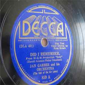 Jan Garber And His Orchestra - Did I Remember / I'm Just Beginning To Care Herunterladen